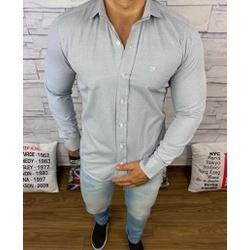 Camisa manga Longa Ricardo Almeida Cinza Claro Det... - BARAOMULTIMARCAS