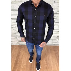 Camisa TH Manga Longa Preto xadrez azul Marinho - ... - Out in Store
