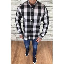 Camisa TH Manga Longa Preto Xadrez Cinza Escuro - ... - Out in Store