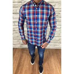 Camisa TH Manga Longa Xadrez Azul e Vermelho - CMT... - Out in Store