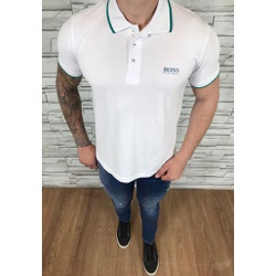 Polo HB Branco detalhe Verde - PHBS45 - Out in Store