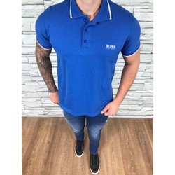 Polo HB Azul Detalhe Branco - PHBS46 - Out in Store