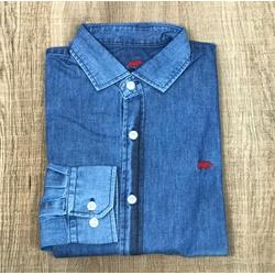 Camisa Manga Longa DG Jeans Detalhe Vermelho - CDP... - Out in Store
