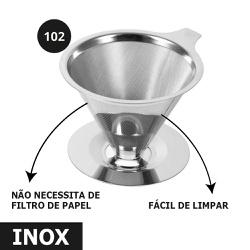 Coador Filtro de Café Pour Over Aço Inox Reutilizá... - Café Kawá