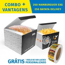 COMBO + VANTAGENS BLACK 250 HAMBURGUER EXG + 250 BATATA DELIVERY - COMBO250+BG - CaixaMix Embalagens