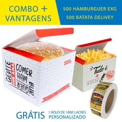 COMBO + VANTAGENS RED 500 HAMBURGUER EXG + 500 BATATA DELIVERY - COMBO500+RG - CaixaMix Embalagens
