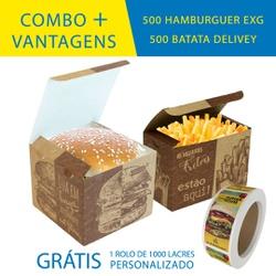 COMBO + VANTAGENS KRAFT GOURMET 500 HAMBURGUER EXG + 500 BATATA DELIVERY - COMBO500+KG - CaixaMix Embalagens