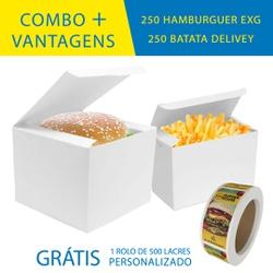 COMBO + VANTAGENS BRANCA 250 HAMBURGUER EXG + 250 BATATA DELIVERY - OMBO250+BR - CaixaMix Embalagens