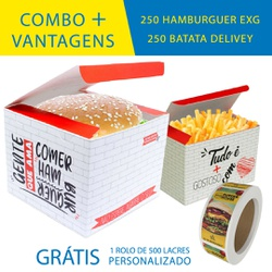 COMBO + VANTAGENS RED 250 HAMBURGUER EXG + 250 BATATA DELIVERY - OMBO250+RG - CaixaMix Embalagens