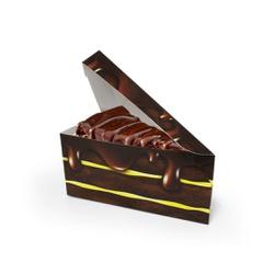 EMBALAGEM FATIA BOLO DELIVERY CHOCOLATE - 50 UNIDADES - MIX0078CH - CaixaMix Embalagens