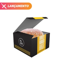 CAIXA LANCHE HAMBURGUER GRANDE BLACK YELLOW - 50 UNIDADES - MIX0032BY - CaixaMix Embalagens