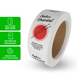 ETIQUETA LACRE DE PROTEÇÃO SABOR ORIENTAL BRANCA - ROLO COM 500 UNIDADES - MIX0175OB - CaixaMix Embalagens