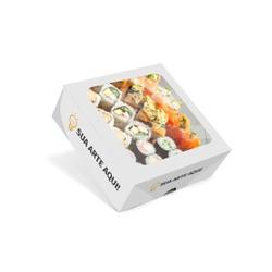 CAIXA BOX COM VISOR PARA SUSHI MÉDIA PERSONALIZADA - 1000 UNIDADES - MIX0028PERS1000 - CaixaMix Embalagens
