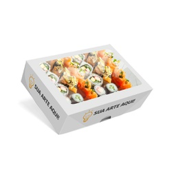 CAIXA BOX COM VISOR PARA SUSHI GRANDE PERSONALIZADA - 1000 UNIDADES - MIX0045PERS1000 - CaixaMix Embalagens
