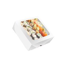CAIXA BOX COM VISOR PARA SUSHI MÉDIA BRANCA 50 Unidades - MIX0028BR - CaixaMix Embalagens
