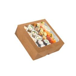 CAIXA BOX COM VISOR PARA SUSHI MÉDIA KRAFT 50 Unidades - MIX0028K - CaixaMix Embalagens