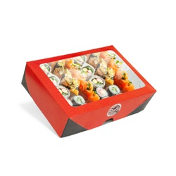 CAIXA BOX COM VISOR PARA SUSHI GRANDE-50 UNIDADES - MIX0045 - CaixaMix Embalagens
