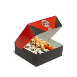 CAIXA BOX COM VISOR PARA SUSHI - M - 50 UNIDADES - MIX0028 - CaixaMix Embalagens