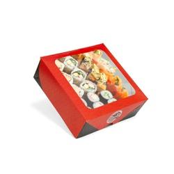 CAIXA BOX COM VISOR PARA SUSHI MÉDIA - 50 UNIDADES - MIX0028M - CaixaMix Embalagens