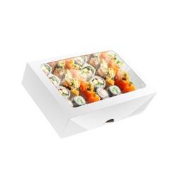 CAIXA BOX COM VISOR PARA SUSHI GRANDE BRANCA - 50 UNIDADES - MIX0045BR - CaixaMix Embalagens