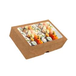 CAIXA BOX COM VISOR PARA SUSHI GRANDE KRAFT - 50 UNIDADES - MIX0045K - CaixaMix Embalagens