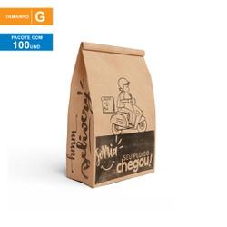 SACO S.O.S DELIVERY SEU PEDIDO CHEGOU - TAMANHO G | 100 UNIDADES - MIX0098G - CaixaMix Embalagens