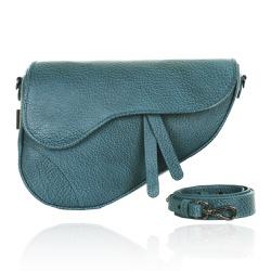 Bolsa Couro Turquesa Saddle Bag Parker