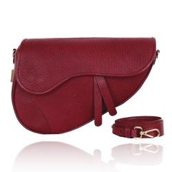 Bolsa Couro Marsala Saddle Bag Parker