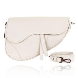 Bolsa Couro Off White Saddle Bag Parker