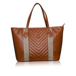 Bolsa Adrien Shopping Bag Marrom de Couro com Detalhe Gorgurão - CAMPEZZO
