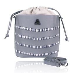 Bolsa Mondrian Couro Cinza e Tie Dye Bucket Bag - CAMPEZZO