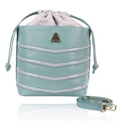 Bolsa Mondrian Couro Mint e Verniz Bucket Bag - CAMPEZZO