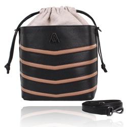 Bolsa Mondrian Couro Preto e Nude Bucket Bag - CAMPEZZO