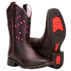 Bota Montaria Feminina Texana Bico Quadrado - 5697-rosa - CAPELLI BOOTS