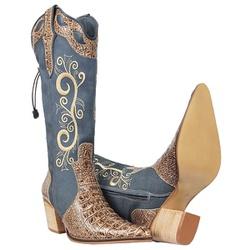 Texana Feminina De Couro Legítimo Jeans - 3085 - CAPELLI BOOTS