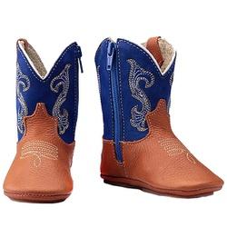 Bota Country Baby Em Couro Cor Azul - Baby-Azul - CAPELLI BOOTS