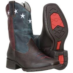Bota Texana Infantil Couro Fóssil Vermelho e Azul - 583 - CAPELLI BOOTS