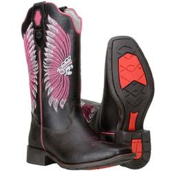 Texana Feminina De Cano Longo Com Bordado De Cocar - 58147 - CAPELLI BOOTS