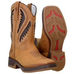 Texana Muladeiros Country Detalhe Em Laser Cor Castor - 8180-castor - CAPELLI BOOTS