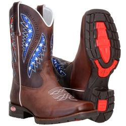 Texana Western Masculina Com Laser e Estampa Dos Usa - 8180-cafe - CAPELLI BOOTS