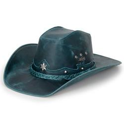 Chapéu Americano Em Couro Legítimo Fóssil Azul - AmE-Azul - CAPELLI BOOTS