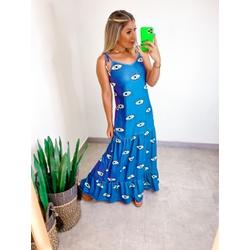 Vestido Canelado Azul Olho - 70072 - CAROLLA FERRARO