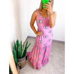 Vestido Canelado Rosa Olho - 70072 - CAROLLA FERRARO