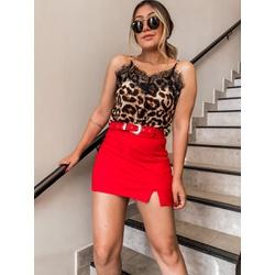 Short Saia Camadas com cinto Vermelho - 66839 - CAROLLA FERRARO