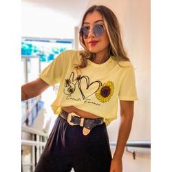 Cropped camiseta CF Girassol - 67362 - CAROLLA FERRARO