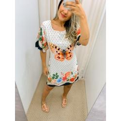 Vestido estampado Borboleta Branco - 59282 - CAROLLA FERRARO