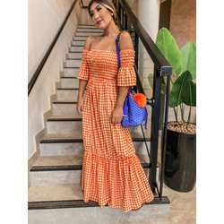 Vestido Xadrez Laranja - 68550 - CAROLLA FERRARO