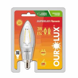 LAMPADA VELA FILAMENTO CLARA E-14 3W (Luz Branca M... - Casa Anzai
