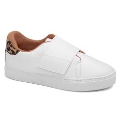 Slip on Velcro Branco com Animal Print - Charlotte Shoes