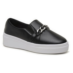 Tênis Slip on com Corrente Preto - Charlotte Shoes